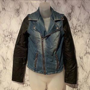 Kendall & Kylie Denim Leather Sleeve Moto Jacket
